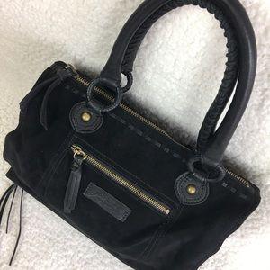 Black Suede Leather Shoulder Bag 13.5 x 11…